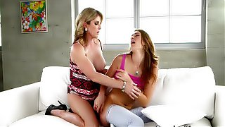 Busty mature lady toying with lesbian teen