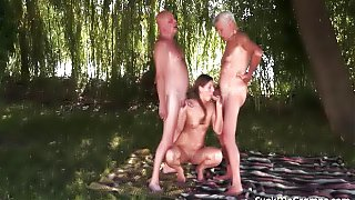Mature Men Make Babe Swallow Cum
