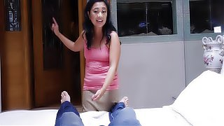 Asian cougar mature stepmom knows what is best for him