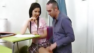 young-old sexual encounter between a naughty schoolgirl and her horny male teacher