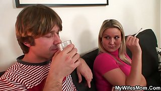 Wife watches hubby do her old mom from behind