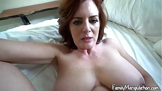 Busty stepmother helps stepson
