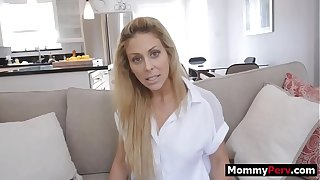 Step son blackmails mother to fuck her