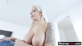 Bimbo milf mom sucks & fucks son's cock