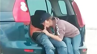 Horny soccer mom gives son's teen friend a blowjob
