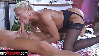 Lusty bigtitted blonde mature hungrily blowing and riding some fresh meat