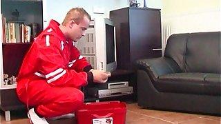 TV Repairman Seduced By Busty Blonde Horny Grandma