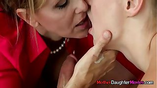 Mom And StepDaughter Giving Teen Boy Blowjob During Appealing 3way