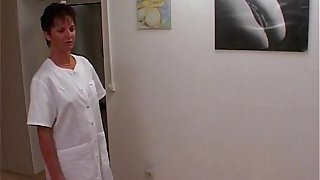 MILF Nurse Sexy Stockings Office Fucked Two Doctors