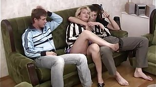 Tipsy Blonde Stepmom Having Threesome With Young Studs