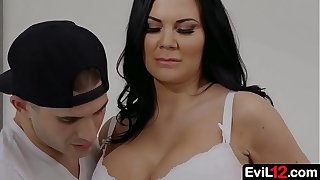 Dark haired busty stepmom fucks by her sexy stepson