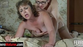 Awesome milf sucks on a cock and gets her pussy impaled on a guy's pecker