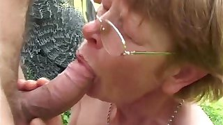 Granny In Glasses Outdoor Farm Fucking