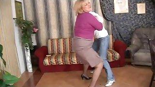 Naughty mom fucks her son and she's filmed!