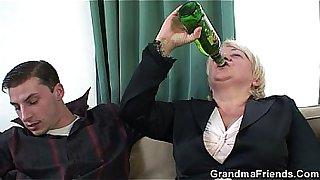 Boozed granny double penetration