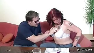 German Mother Helps Her Ugly Step-Son with First Fuck