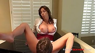 MILF gets stepson to eat her pussy