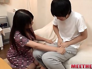 Real Japanese mom and son fuck in home HD