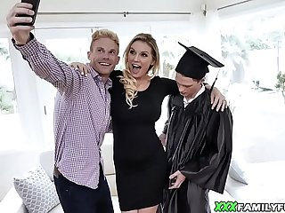 Blonde Busty Mom Fucks Her Graduated Stepson